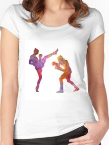 Woman boxwe boxing man kickboxing silhouette isolated 01 Women's Fitted Scoop T-Shirt
