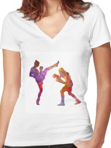 Woman boxwe boxing man kickboxing silhouette isolated 01 Women's Fitted V-Neck T-Shirt