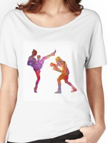 Woman boxwe boxing man kickboxing silhouette isolated 01 Women's Relaxed Fit T-Shirt