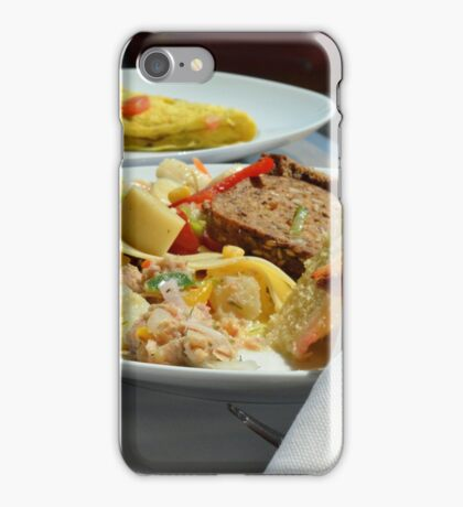 Healthy breakfast with omelette, vegetables and croissant. iPhone Case/Skin
