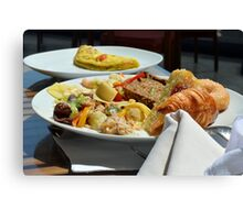 Healthy breakfast with omelette, vegetables and croissant. Canvas Print