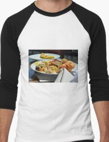 Healthy breakfast with omelette, vegetables and croissant. Men's Baseball ¾ T-Shirt