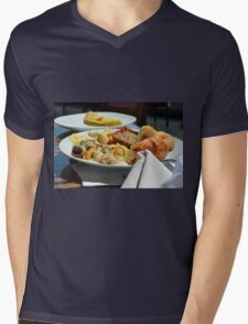 Healthy breakfast with omelette, vegetables and croissant. Mens V-Neck T-Shirt