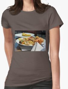 Healthy breakfast with omelette, vegetables and croissant. Womens Fitted T-Shirt