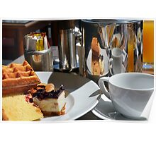 Breakfast or desert with waffle, cakes, a cup of tea and orange juice. Poster