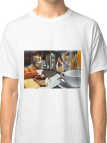 Breakfast or desert with waffle, cakes, a cup of tea and orange juice. Classic T-Shirt
