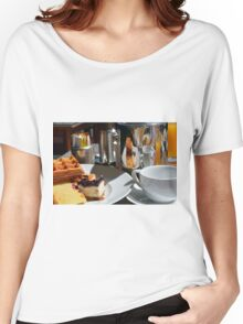 Breakfast or desert with waffle, cakes, a cup of tea and orange juice. Women's Relaxed Fit T-Shirt