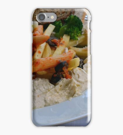 Lunch on the table with pasta, beans, vegetables. iPhone Case/Skin