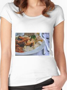 Lunch on the table with pasta, beans, vegetables. Women's Fitted Scoop T-Shirt