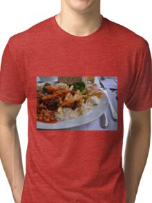 Lunch on the table with pasta, beans, vegetables. Tri-blend T-Shirt