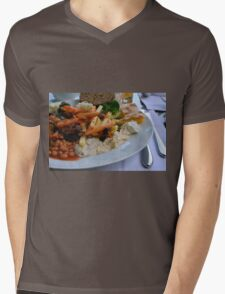 Lunch on the table with pasta, beans, vegetables. Mens V-Neck T-Shirt