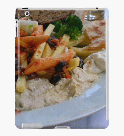 Lunch on the table with pasta, beans, vegetables. iPad Case/Skin