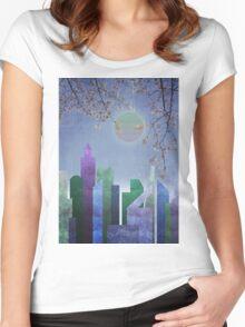 Spring Night Sakura Cherry Blossom Geometric City Landscape Women's Fitted Scoop T-Shirt