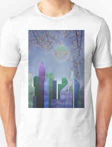 Spring Night Sakura Cherry Blossom Geometric City Landscape Unisex T-Shirt