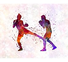 woman boxer boxing man kickboxing silhouette isolated 02 Photographic Print