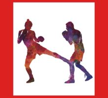woman boxer boxing man kickboxing silhouette isolated 02 Kids Tee