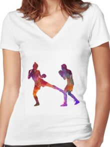 woman boxer boxing man kickboxing silhouette isolated 02 Women's Fitted V-Neck T-Shirt