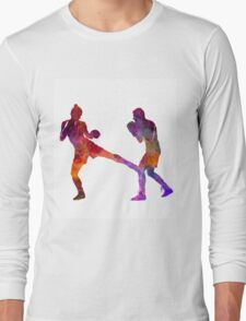 woman boxer boxing man kickboxing silhouette isolated 02 Long Sleeve T-Shirt