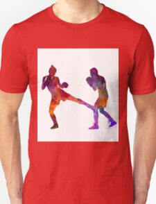 woman boxer boxing man kickboxing silhouette isolated 02 Unisex T-Shirt