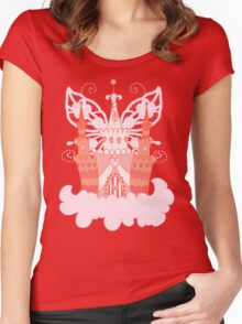 Cartoon fairy castle on a cloud Women's Fitted Scoop T-Shirt