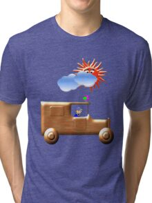 A Wooden Delivery Van in Town Tri-blend T-Shirt