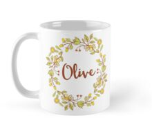 Olive lovely name and floral bouquet wreath Mug