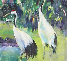 Stalking Storks by christine purtle