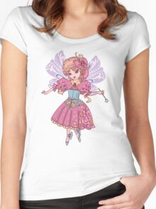 Fairy cartoon set isolated on white background with wand Women's Fitted Scoop T-Shirt
