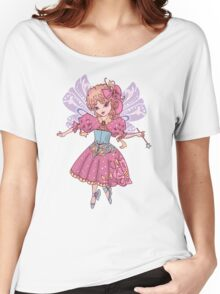 Fairy cartoon set isolated on white background with wand Women's Relaxed Fit T-Shirt