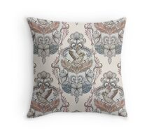 Woodland Birds - hand drawn vintage illustration pattern in neutral colors Throw Pillow