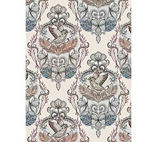 Woodland Birds - hand drawn vintage illustration pattern in neutral colors Photographic Print