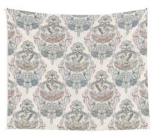 Woodland Birds - hand drawn vintage illustration pattern in neutral colors Wall Tapestry