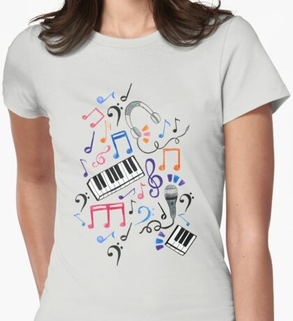 Good Beats - Music Notes & Symbols Womens Fitted T-Shirt