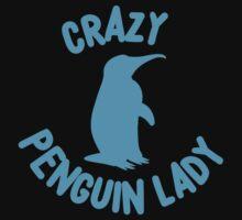 Crazy Penguin Lady (new circle) Kids Tee