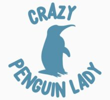 Crazy Penguin Lady (new circle) Kids Tee