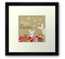 happy Easter hares on the background,vector illustration Framed Print