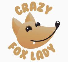 Crazy fox lady (circle) Kids Tee