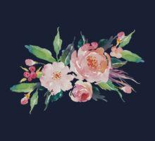 Watercolor Flower Bouquet  One Piece - Short Sleeve