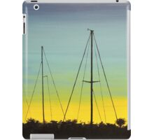 Spacious skies with docked sail boats iPad Case/Skin