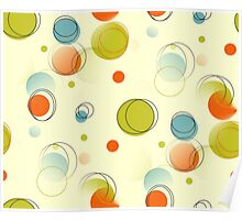 Midcentury Modern Bubble Dots Abstract Pattern Poster
