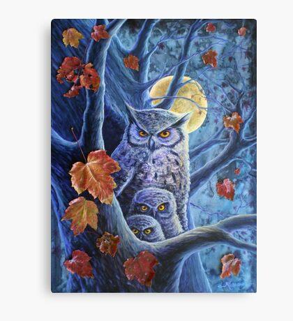 Harvest Moon Owls Canvas Print