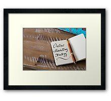 Handwritten text ONLINE MARKETING STRATEGY  Framed Print