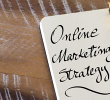 Handwritten text ONLINE MARKETING STRATEGY  Sticker