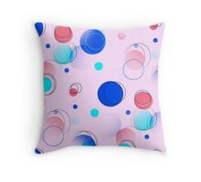 MidCentury Modern Bubbles Pattern Pink Blue Throw Pillow