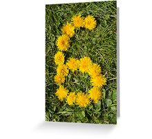 number six drawn with dandelion on the lawn Greeting Card