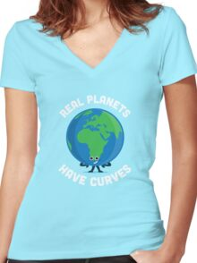 Character Building - Real Planets Have Curves Women's Fitted V-Neck T-Shirt