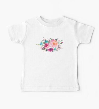 Floral Watercolor Bouquet Turquoise Pink Baby Tee