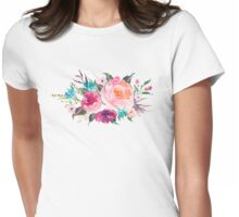 Floral Watercolor Bouquet Turquoise Pink Womens Fitted T-Shirt