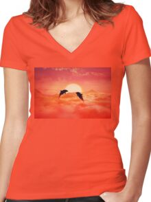 flying dolphins Women's Fitted V-Neck T-Shirt