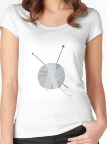 Hand drawn ball of yarn Women's Fitted Scoop T-Shirt